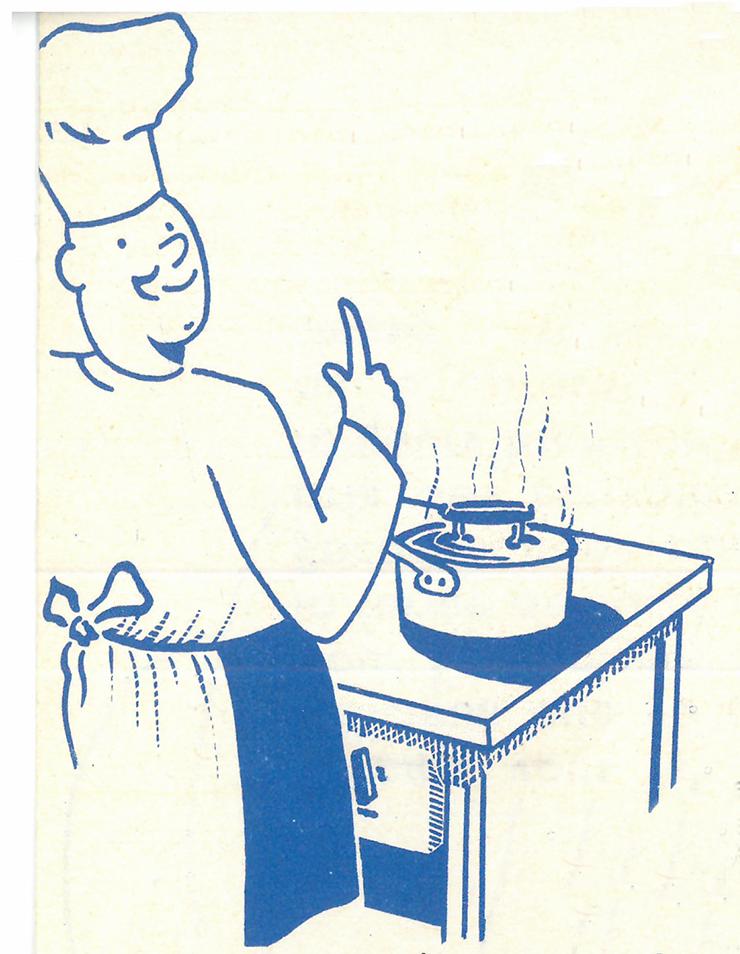 petit cuisinier illustrant la recette vintage