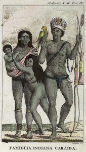 Famille d'Indiens des Caraïbes. Crédits : John Gabriel Stedman