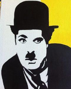 Portrait de Charlie Chaplin, tableau à l'acrylique.