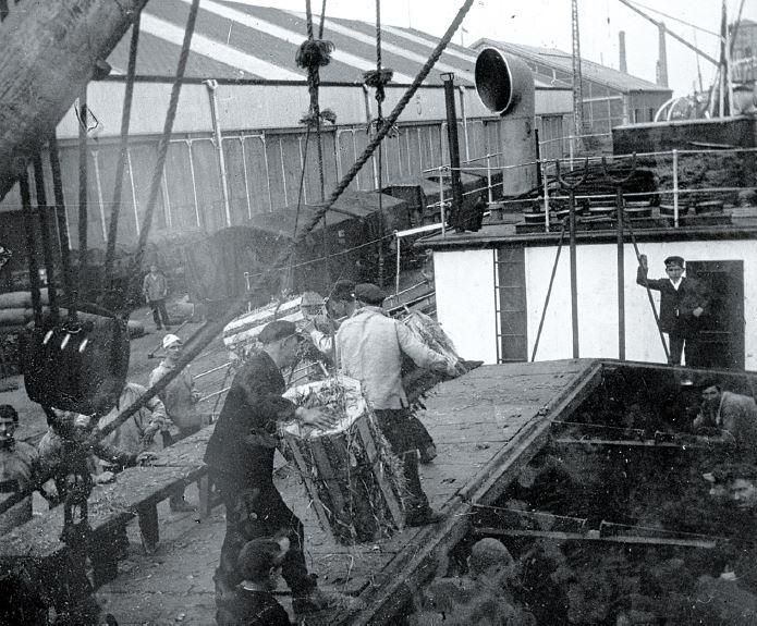 Débarquement des caisses de bananes au port de Dunkerque en 1912 @Musée portuaire de Dunkerque